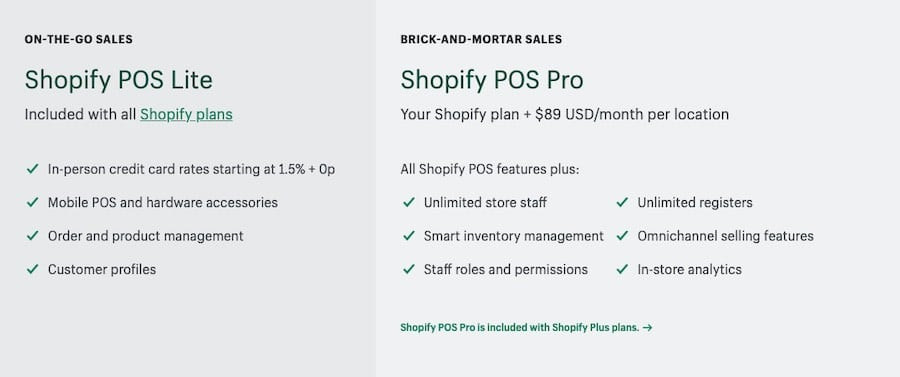 Key differences between 'POS Lite' and 'POS Pro'