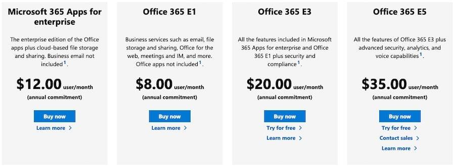 The 365 Enterprise plans