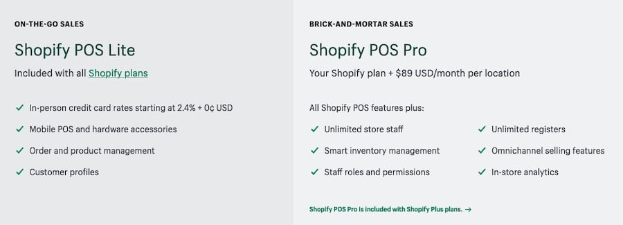 Key differences between Shopify POS Lite and Shopify POS Pro