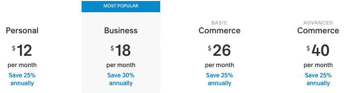 Squarespace pricing table