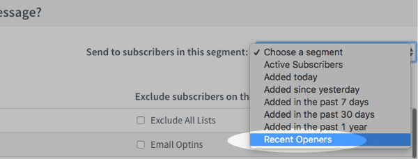 Sending newsletters to segments in Aweber