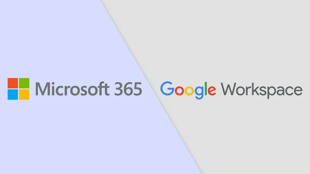 Microsoft 365 vs Google Workspace (formerly G Suite). An image of the two companies' logos, side by side.