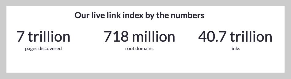 Moz link database statistics