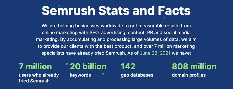 Semrush database statistics