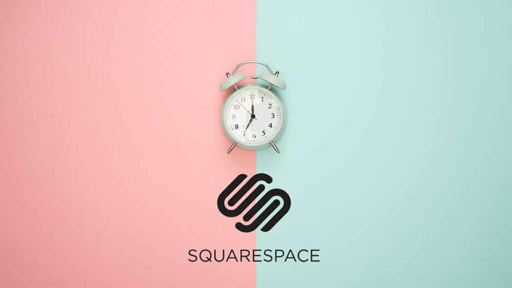 How to speed up a Squarespace site (image of a ticking clock and the Squarespace logo)