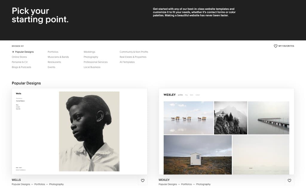Examples of Squarespace 7.0 templates