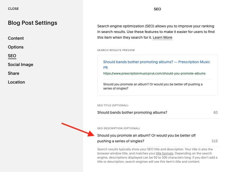Adding a meta description to a blog post in Squarespace