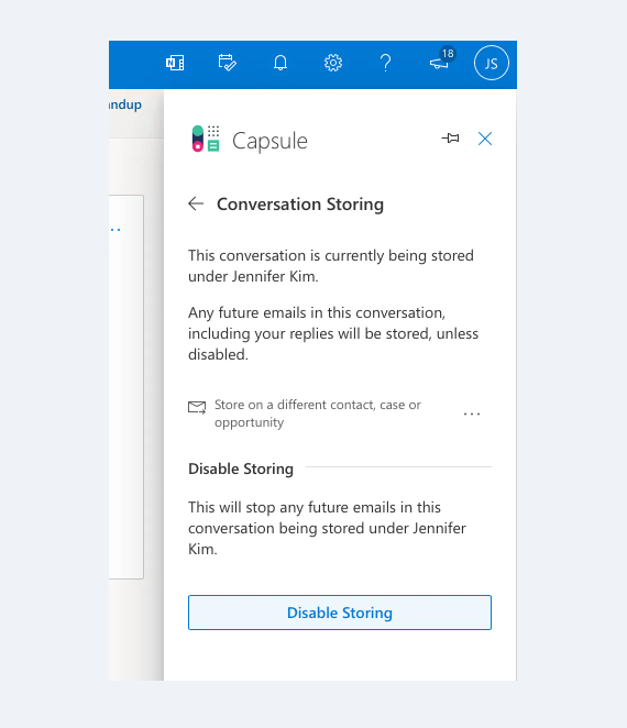 Storing conversations in Capsule CRM using the Microsoft 365 add-on