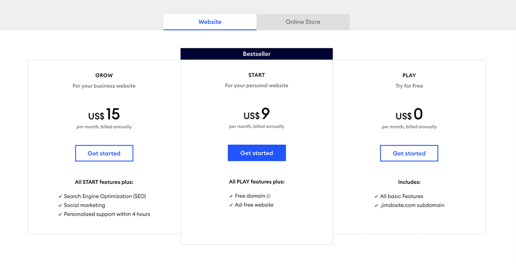 Jimdo pricing for the 'website plans'