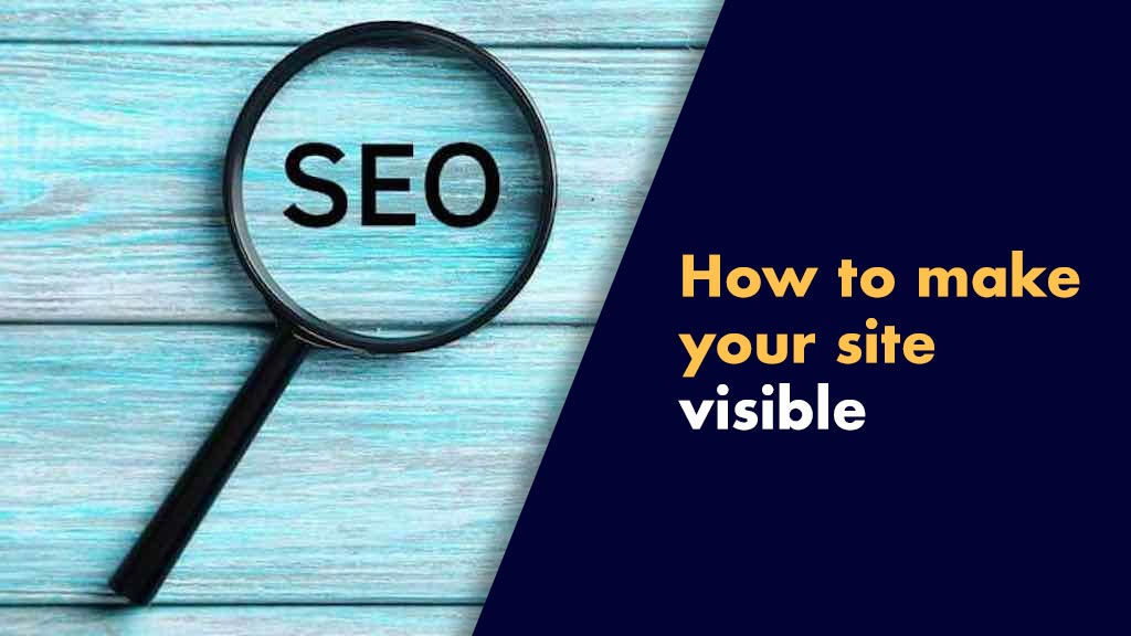 """Ways to make your website more visible on Google (a magnifying glass and the word """"SEO"""")."""