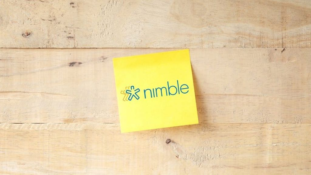 Nimble CRM review (image of a post-it note containing the Nimble logo)