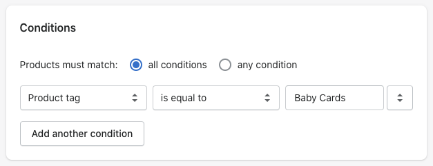 Setting up 'smart' collections in Shopify