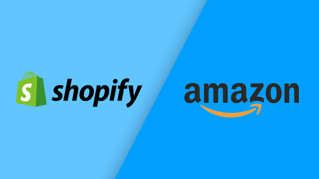 Shopify vs Amazon (the two logos side by side)