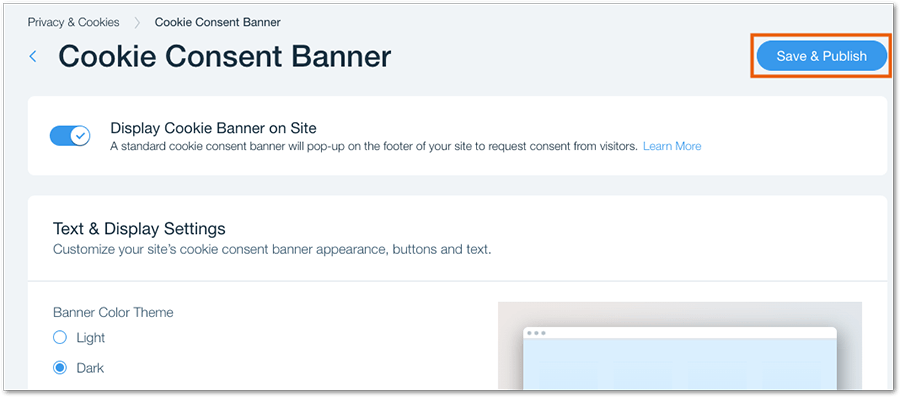 Wix's built-in cookie consent banner