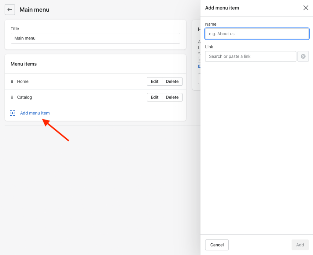 Adding items to the main menu in Shopify