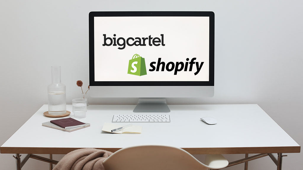Big Cartel vs Shopify (the two logos on a screen, side by side).
