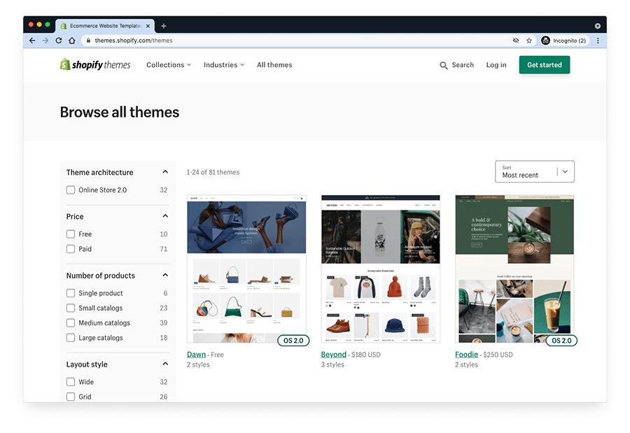 The Shopify theme store