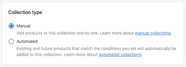 Selecting collection type