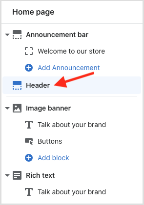 Accessing the header in the Shopify theme customizer