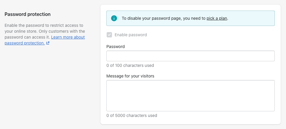 Removing password protection to launch your Shopify store