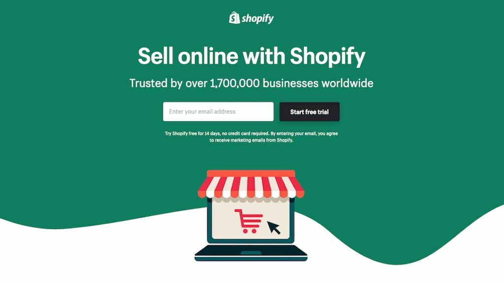 Shopify free trial signup page