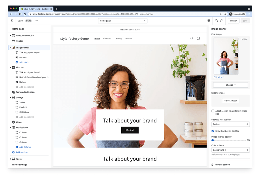 Creating a home page for a Shopify store