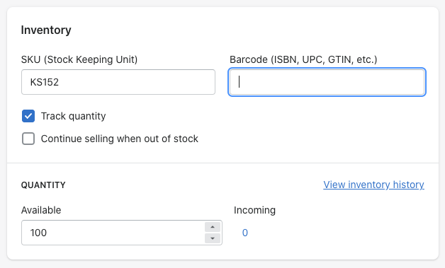 Product inventory settings