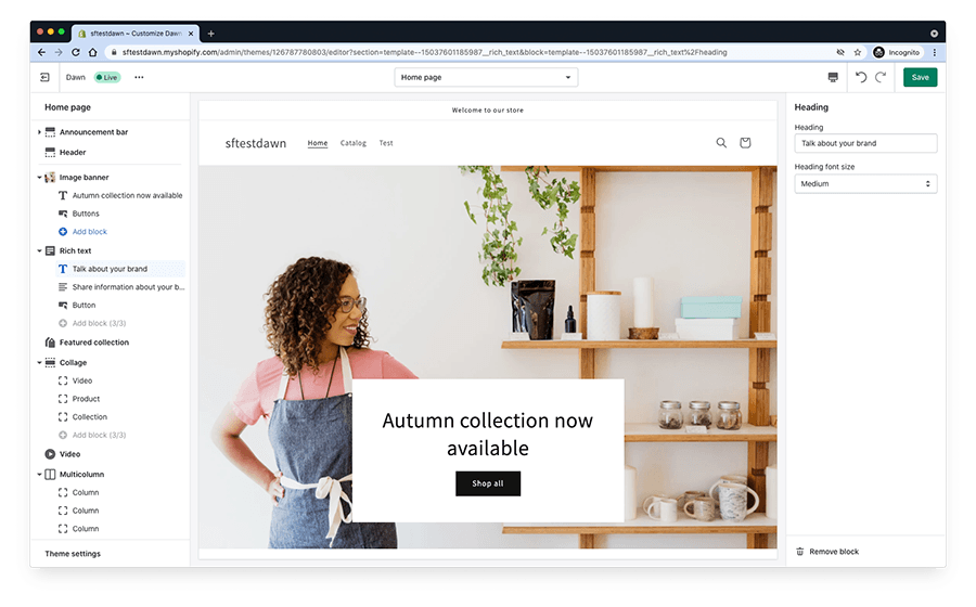 Shopify's new drag and drop editor