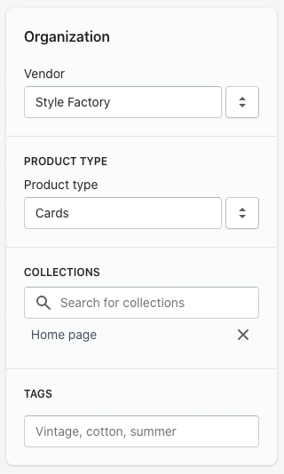 Product organization in Shopify