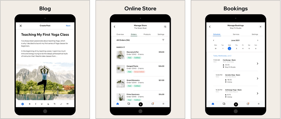 The 'Wix Owner' mobile app