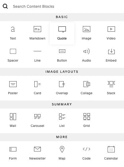 Les blocs contenu de Squarespace